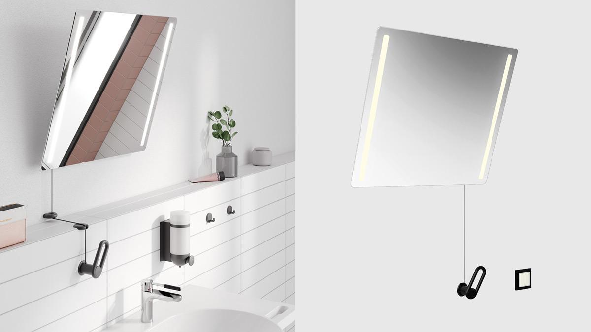 Hewi-Kippspiegel mit batterielosem Schalter für LED - HIGHLIGHT